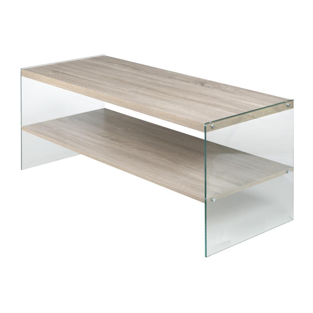Escher Skye Coffee Table, Clear Glass and Wood, Light Oak
