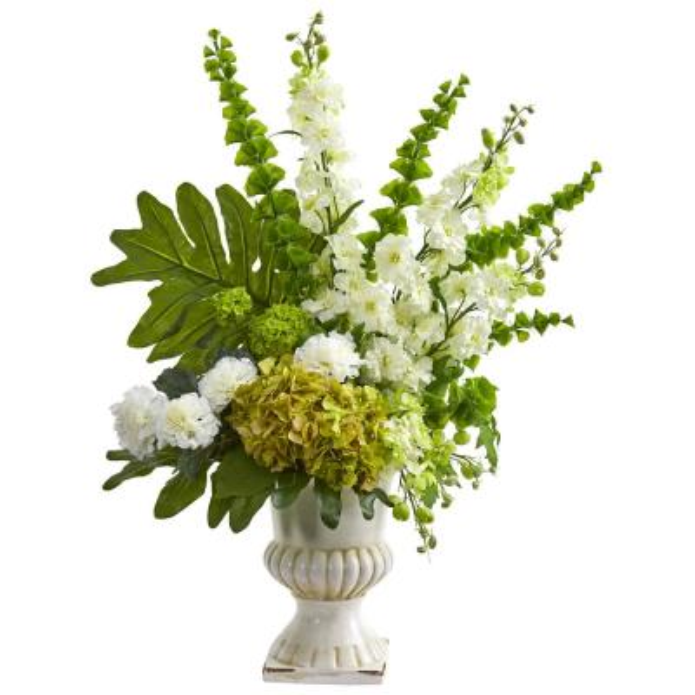 32 in. Indoor Mixed Artificial Flower Arrangement in White Urn