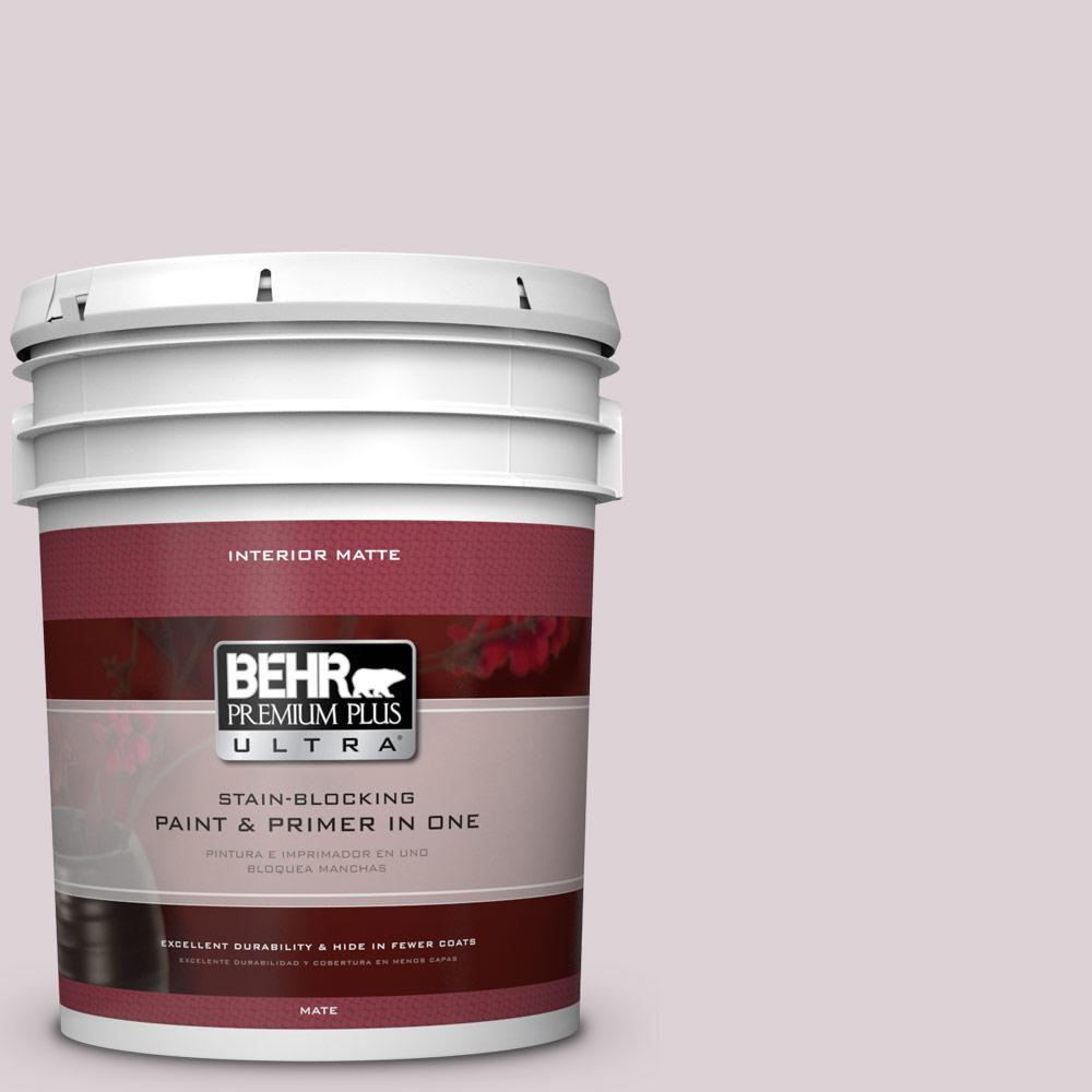 5 gal. #100E-2 Mauve Mist Matte Interior Paint and Primer in