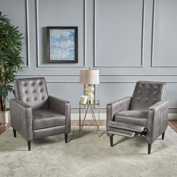 Mervynn Slate and Dark Espresso Upholstered Recliner (Set of 2)