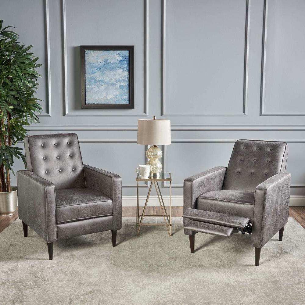 Mervynn Slate and Dark Espresso Upholstered Recliner (Set of 2)