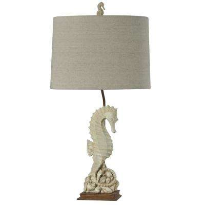 31 in. Beige with Ivory Table Lamp with Oatmeal Fabric Shade