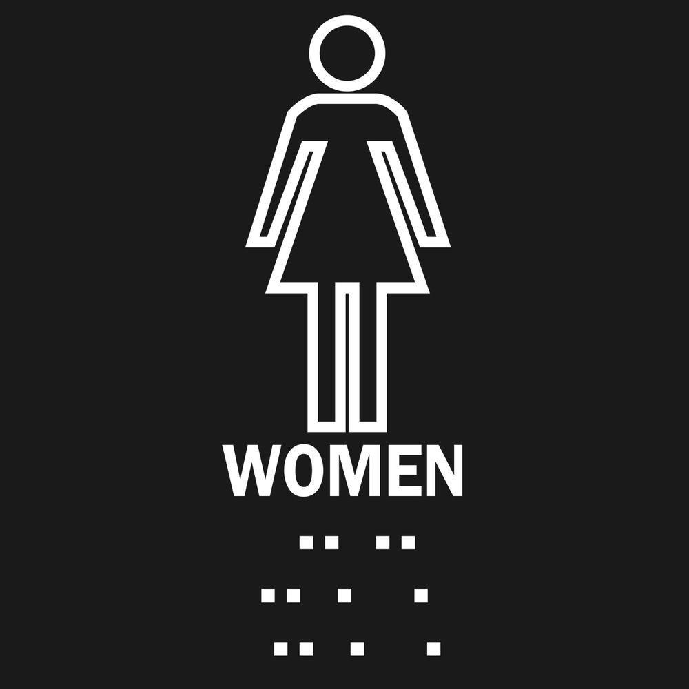 Brady 8 inch x 8 inch Plastic Braille Women's Restroom Sign by Brady
