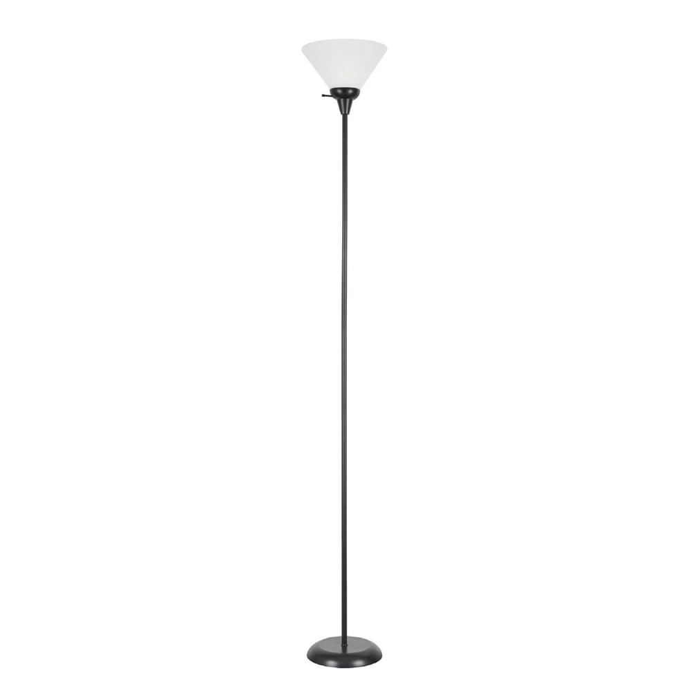 Aspen Creative Corporation 71 in. Black Metal Torchiere Floor Lamp with Frosted Acrylic Lamp Shade