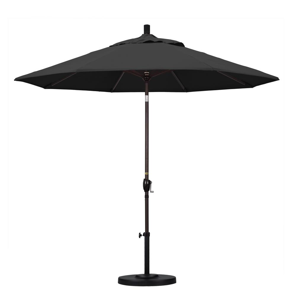 9 ft. Aluminum Push Tilt Patio Umbrella in Black Pacifica