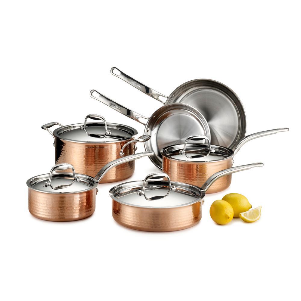 Lagostina Martellata 10-Piece Hammered Copper Tri-Ply Cookware Set by Lagostina