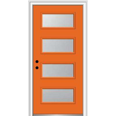36 in. x 80 in. Celeste Right-Hand Inswing 4-Lite Frosted Painted Fiberglass Smooth Prehung Front Door, 6-9/16 in. Frame