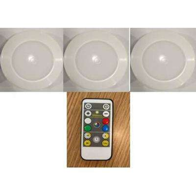 Remote Control 3.11 in. LED White Puck Light (3-Pack)