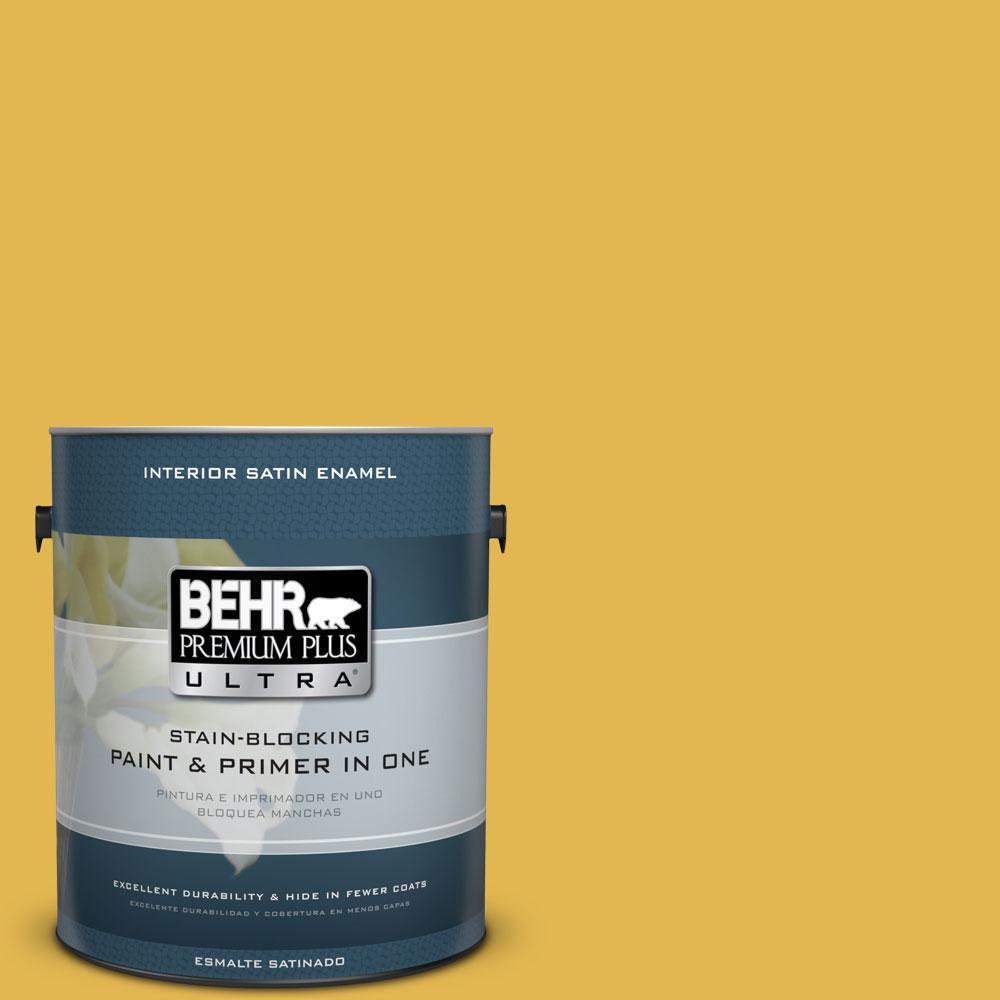 BEHR Premium Plus Ultra 1-gal. #360D-6 Yellow Gold Satin Enamel Interior Paint