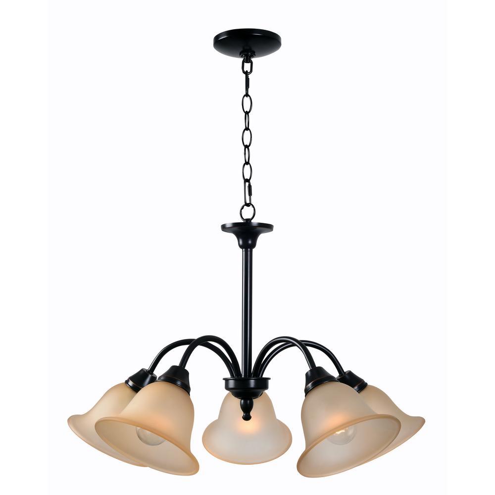 Kenroy Home Lighting Keen Bronze Pendant Light With Drum: Kenroy Home Flowers 5-Light Bronze Chandelier With Cream