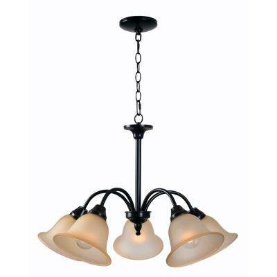 Flowers 5-Light Bronze Chandelier with Cream Glass Shade