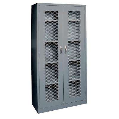 72 in. H x 36 in. W x 18 in. D Steel Freestanding Expanded Metal Front Cabinet in Charcoal
