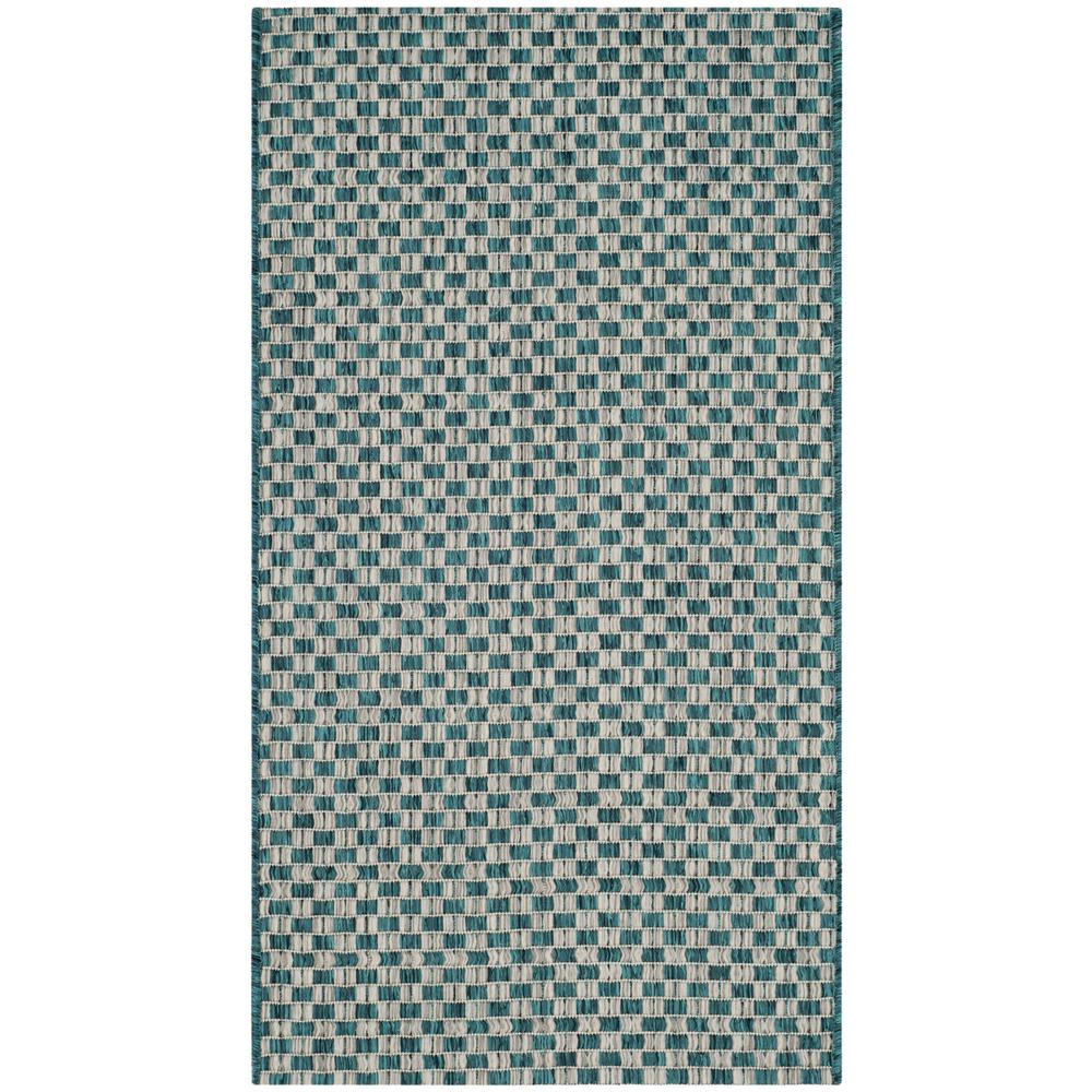 Safavieh Himalaya Turquoise 4 Ft X 4 Ft Round Area Rug: Safavieh Courtyard Turquoise/Light Gray 2 Ft. X 4 Ft