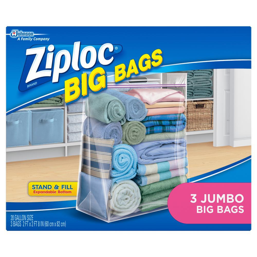 2 Pack X Large Big Zip Lock Zipper Resealable Storage Plastic Bags 17 x 20.5 in.