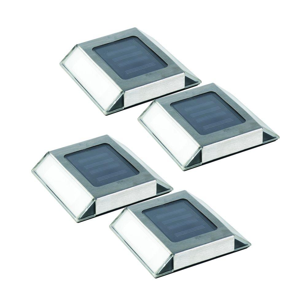 Nature Stainless Steel Outdoor Solar Integrated Led Pathway Light 4 Pack