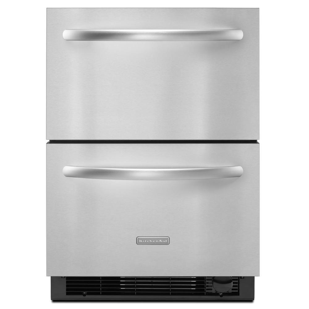 KitchenAid Double Drawer 4.8 cu. ft. Bottom Freezer Refrigerator in Stainless Steel, Counter Depth