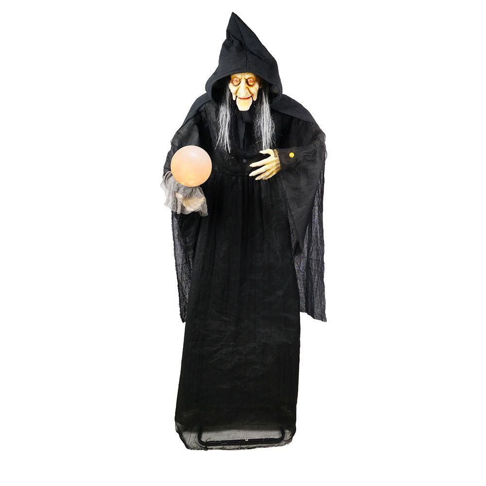 Home accents holiday 72 in standing witch with glowing for Home depot halloween decorations