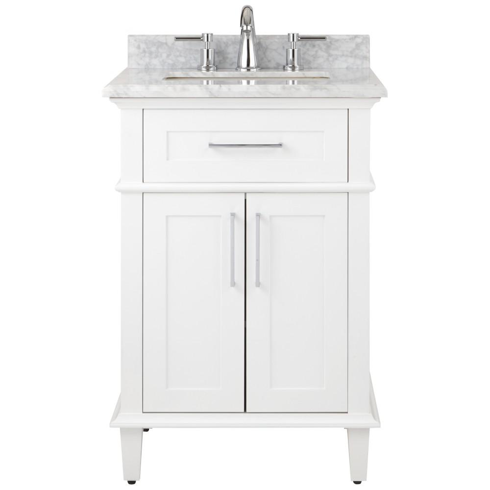 Home Decorators Collection Sonoma 24 In W X 20 25 D Vanity White With Carrara Marble Top Sinks
