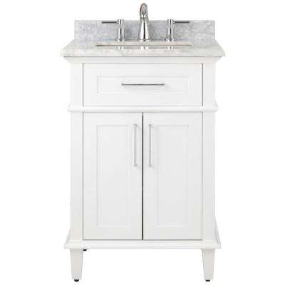 Sonoma 24 in. W x 20.25 in. D Vanity in White with Natural Marble Vanity Top in White with White Basin