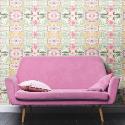 28.18 sq. ft. Multi-Colored Synchronized Floral Peel and Stick Wallpaper