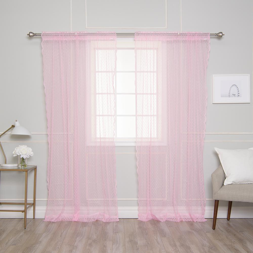 best home fashion 84 in l pink sheer lace dot curtain. Black Bedroom Furniture Sets. Home Design Ideas