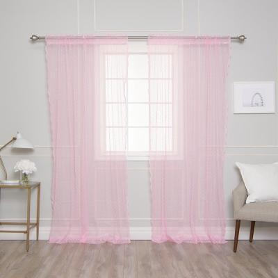96 in. L Pink Sheer Lace Dot Curtain Panel (2-Pack)