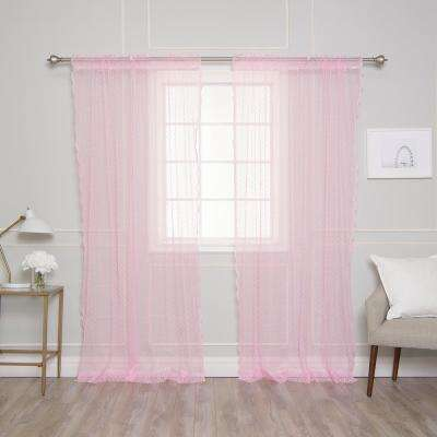 84 in. L Pink Sheer Lace Dot Curtain Panel (2-Pack)