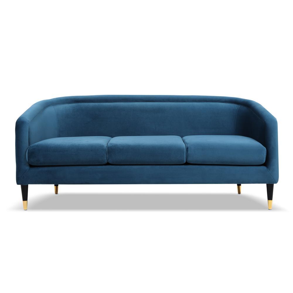 Avri Satin Teal Modern Tuxedo Sofa