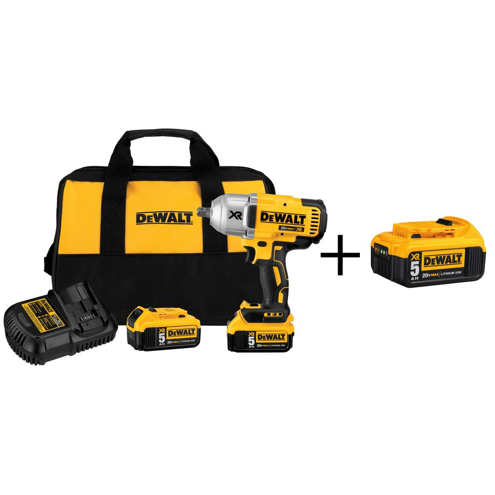 DEWALT 20-Volt MAX XR Lithium-Ion 1/2 in. Cordless Impact Wrench Kit ...