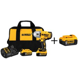Dewalt 20-Volt MAX XR Lithium-Ion 1/2 inch Cordless Impact Wrench Kit with Detent Anvil and Bonus Battery Pack by DEWALT