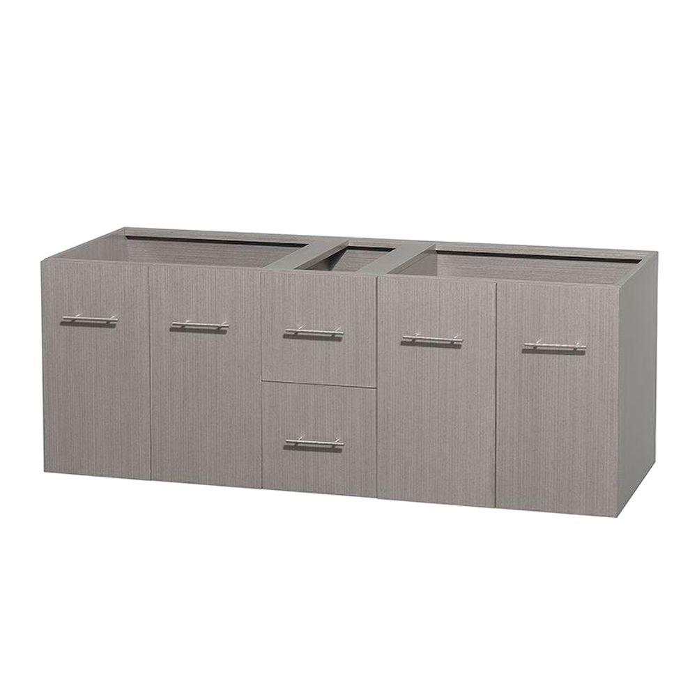 Wyndham Collection Centra 59 in. Double Vanity Cabinet Only in Gray Oak