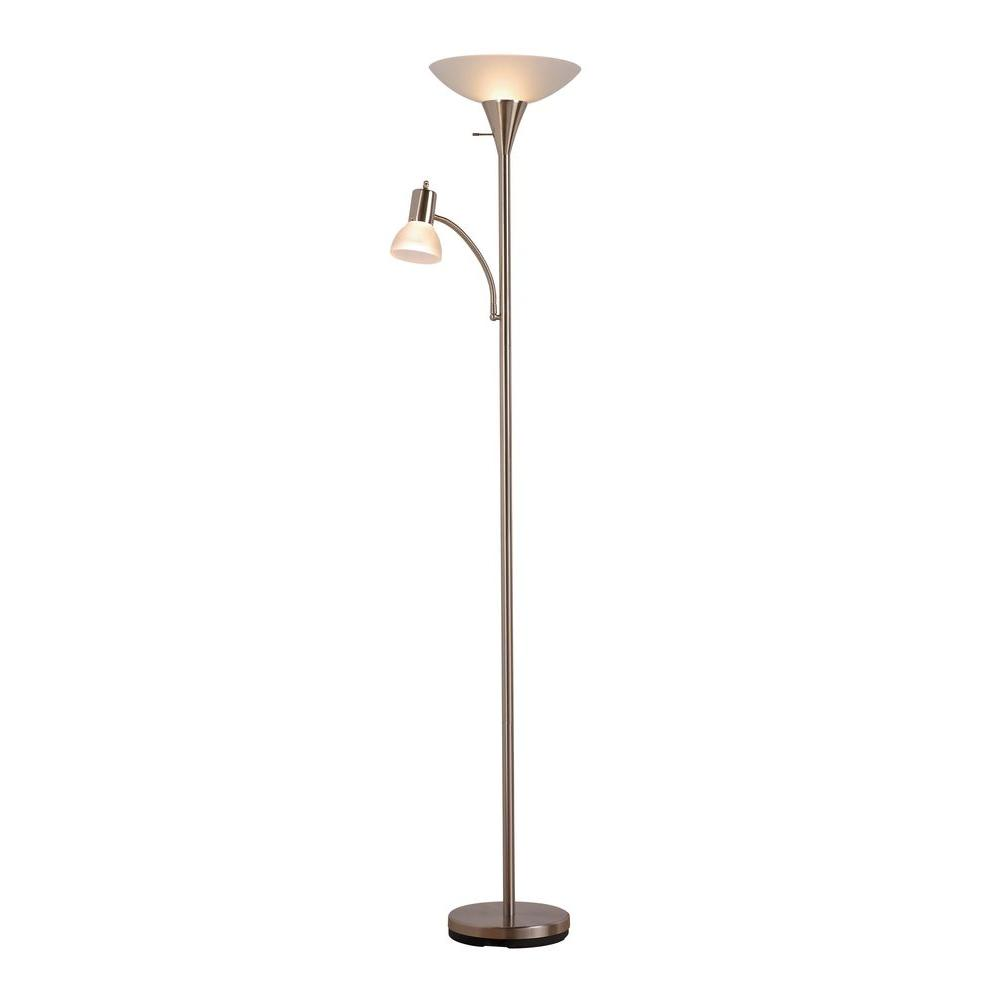 Mother And Son Torchiere Floor Lamp With Frosted Shade