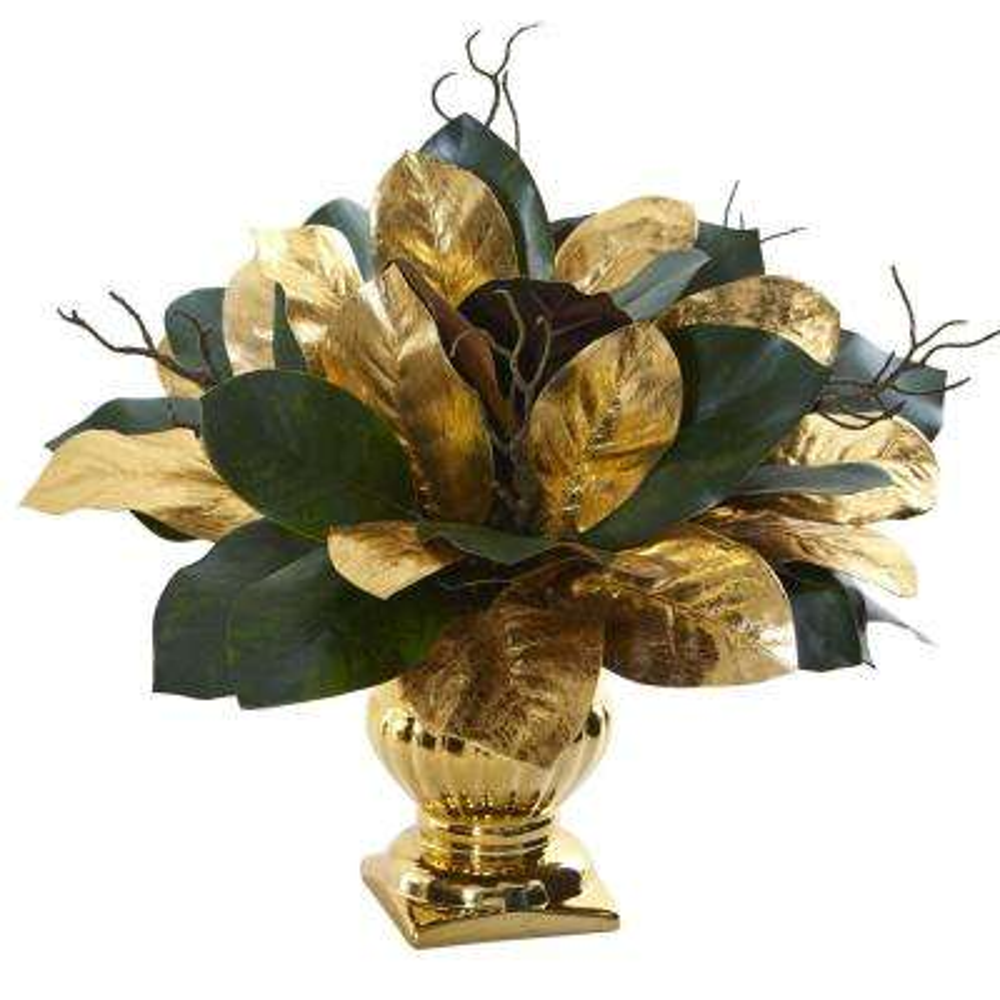 Indoor 18 in. Magnolia Leaf Artificial Arrangement in Gold Planter