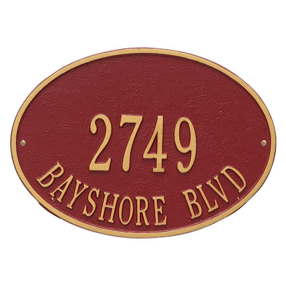 Hawthorne Standard Oval Red/Gold Wall 2-Line Address Plaque