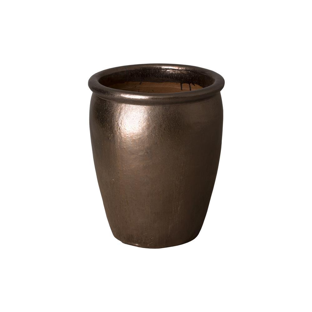 17 in. Dia Round Metallic Ceramic Planter