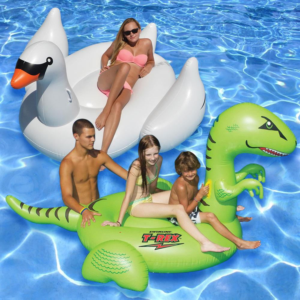 Swimline Giant Ride-On T-Rex and White Swan Swimming Pool...
