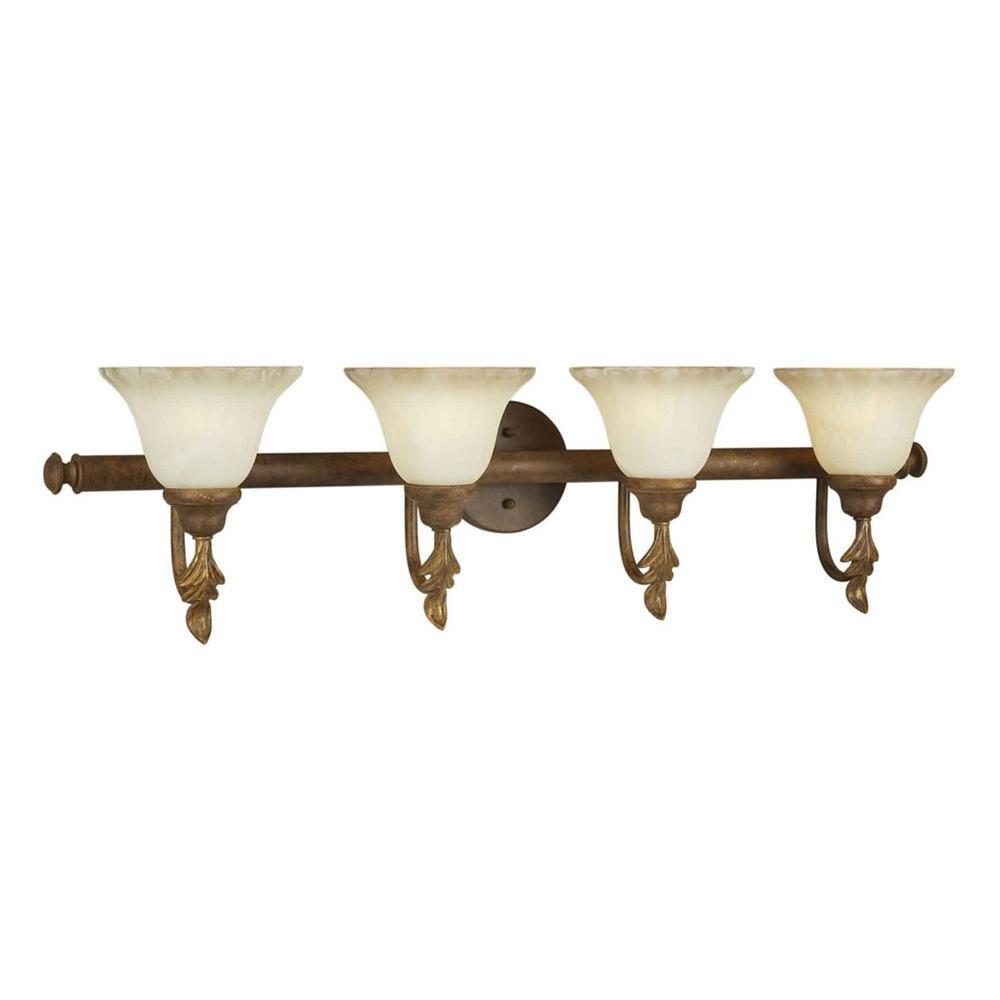 Talista 4-Light Chestnut Bath Vanity Light with Umber Cloud Glass