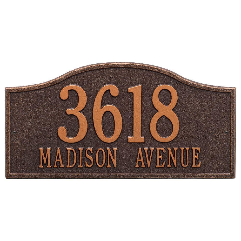 Rolling Hills Rectangular Antique Copper Grande Wall 2-Line Address Plaque