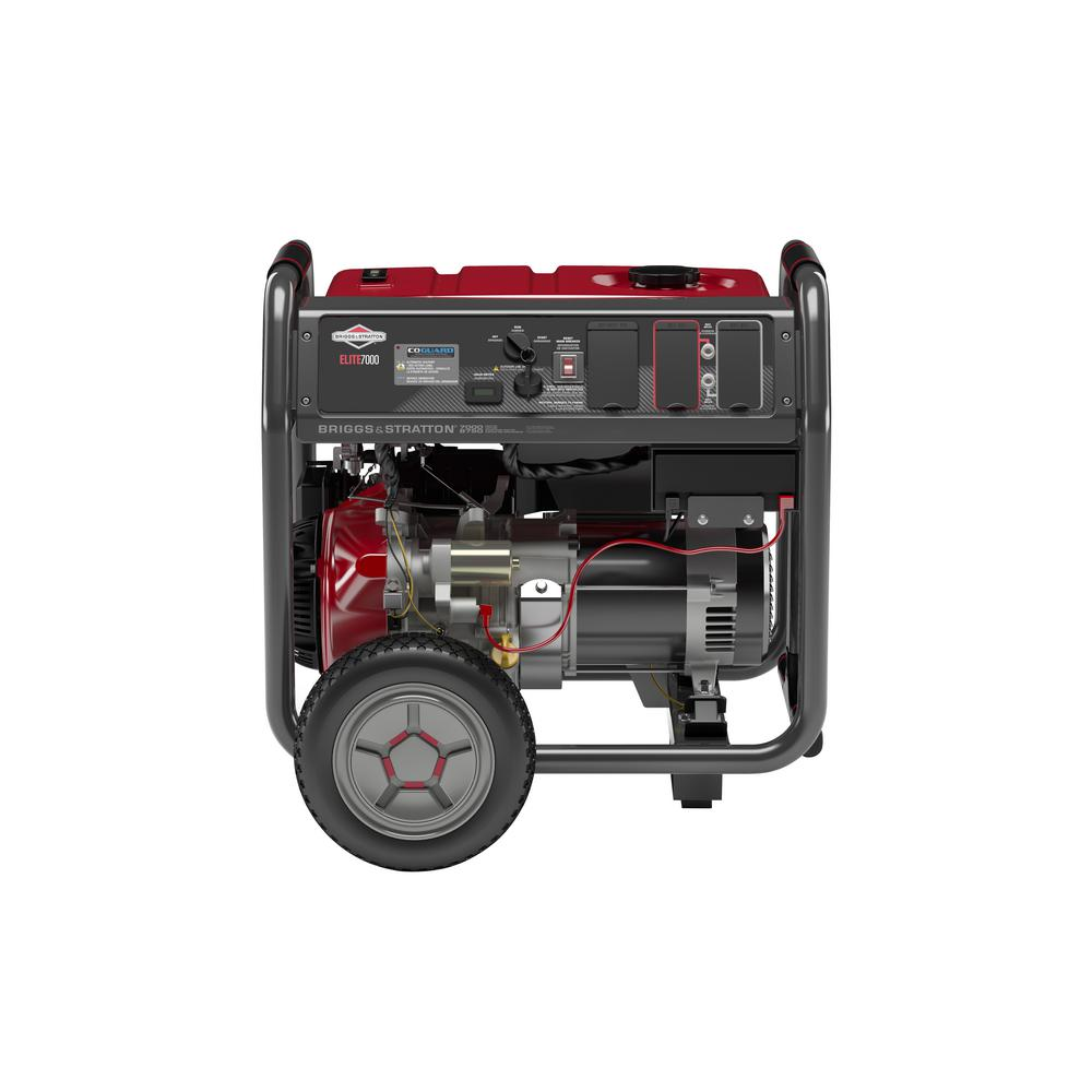 Briggs & Stratton 7,000-Watt Gasoline Powered Key Electric Start Portable Generator with Briggs & Stratton OHV Engine featuring CO Guard