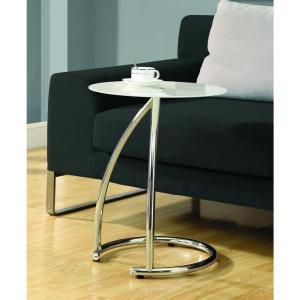 Monarch Specialties Frosted Glass And Chrome Glass Top End Table I 3003    The Home Depot