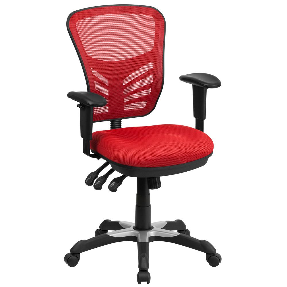Exceptionnel Flash Furniture Mid Back Red Mesh Swivel Task Chair With Triple Paddle  Control