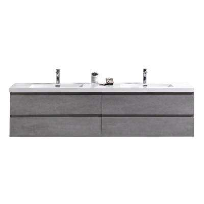 Bohemia 72 in. W Vanity in Cement Gray with Reinforced Acrylic Vanity Top in White with White Basin