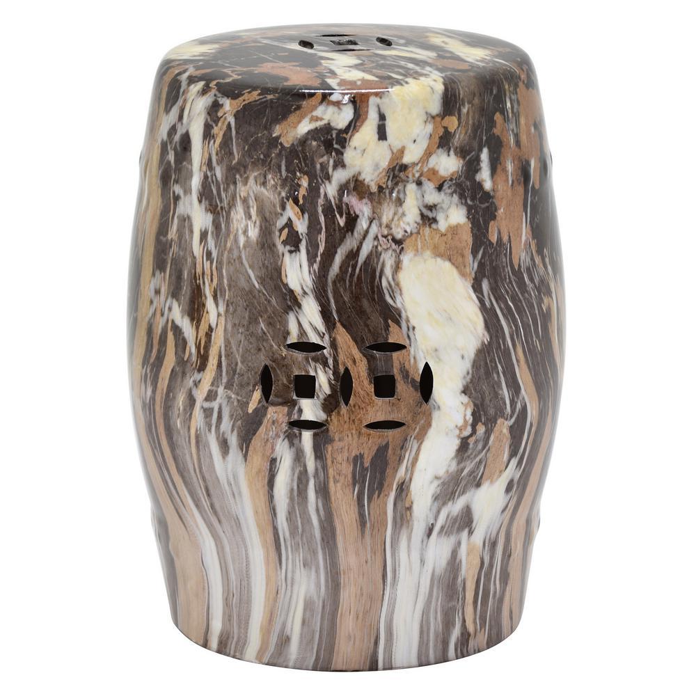18 in. Ceramic Stool Marble Look in Brown