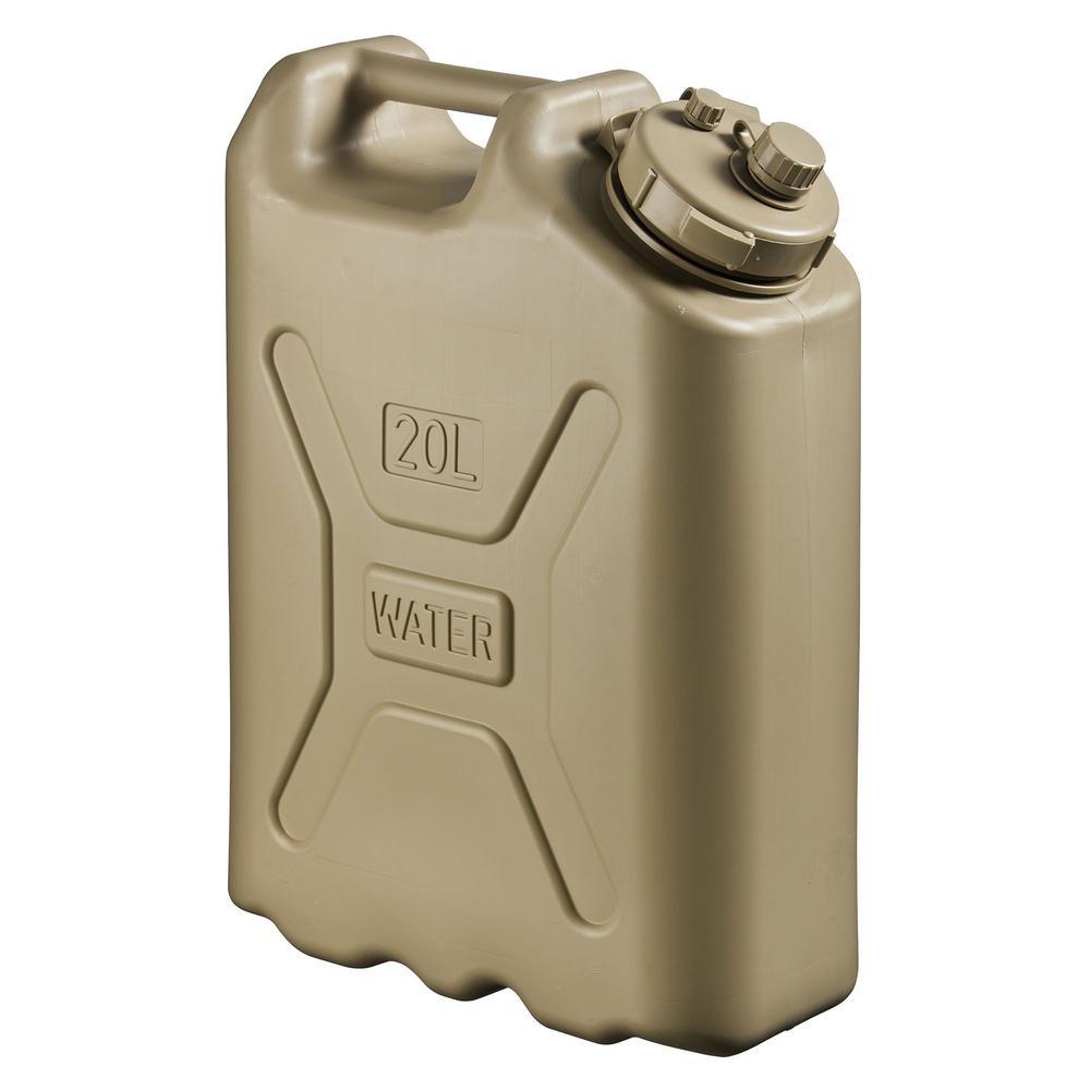 Lightweight BPA 5 Gal. 20 Liter Portable Water Storage Container, Sand