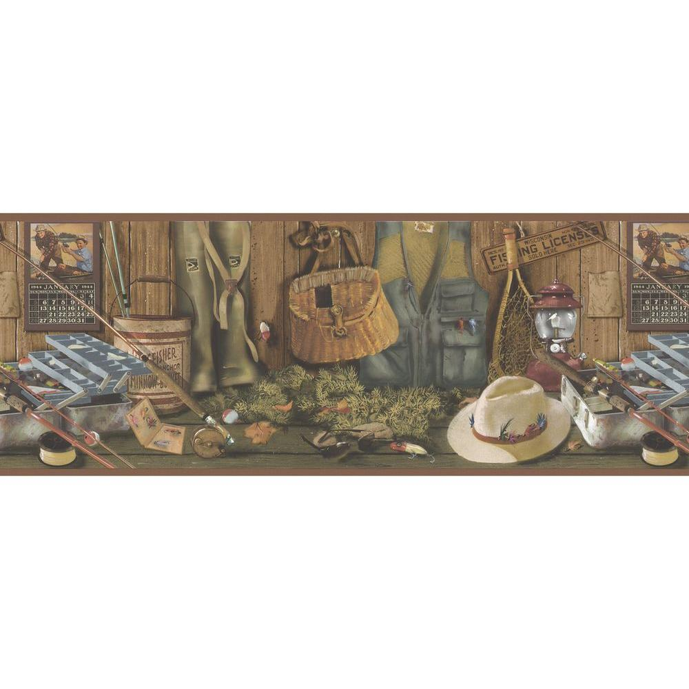 Brewster Northwoods Lodge Fishing Wallpaper Border