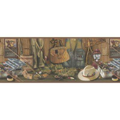 Northwoods Lodge Fishing Wallpaper Border