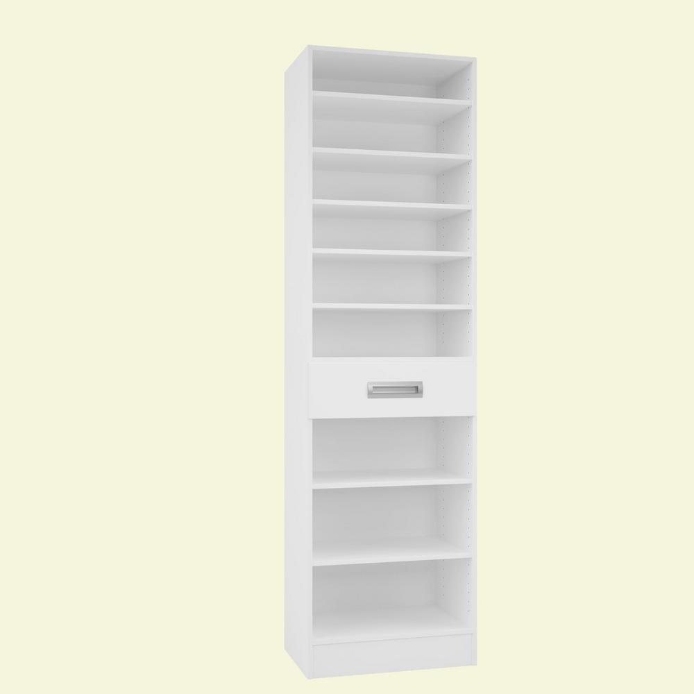 Home Decorators Collection 15 in. D x 24 in. W x 84 in. H Firenze Bianco Melamine with 9-Shelves and Drawer Closet System Kit
