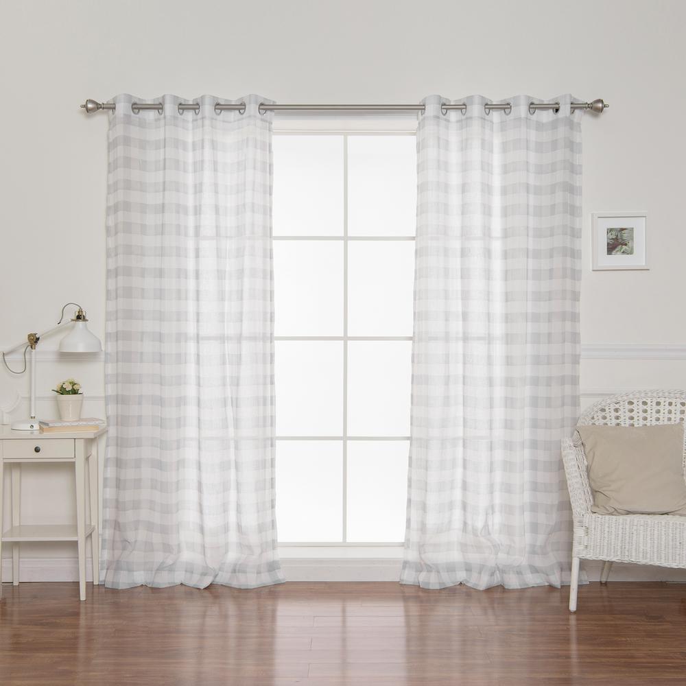 84 in. L Sheer Watercolor Plaid Grommet Curtains in Gray (2-Pack)