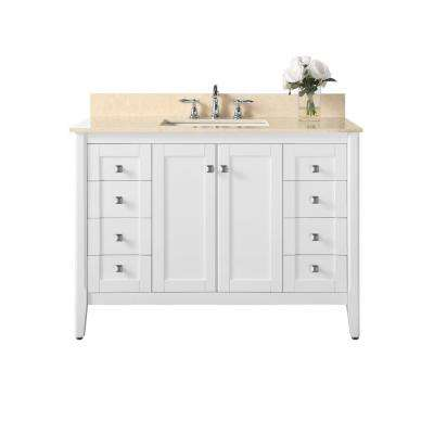 Shelton 48 in. W x 22 in. D Bath Vanity in White with Marble Vanity Top in Galala Beige with White Basin