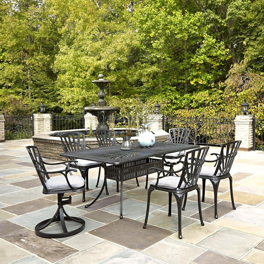 Largo 7-Piece Outdoor Patio Dining Set with Gray Cushions